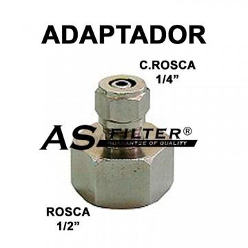 """ADAPTADOR INOXIDABLE C.RAPIDA 1/4"""" X ROSCA 1/2"""" (HEMBRA)"""